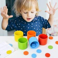 Classificação De Cor e Correspondência Montessori Copo Crianças Cedo Brinquedo Educativo para As Crianças Do Bebê Brinquedos De Madeira Jogo De Mesa