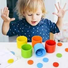 Juguete educativo Montessori de madera para niños, juguete educativo para edades tempranas, clasificación de colores y taza a juego