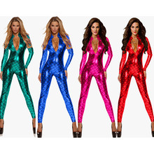 2020 Women Latex PVC Erotic Leotard Costumes Wet Look Jumpsuit Catsuit Pole Dance Clothes Club Body Suit Catwomen Game Uniforms(China)