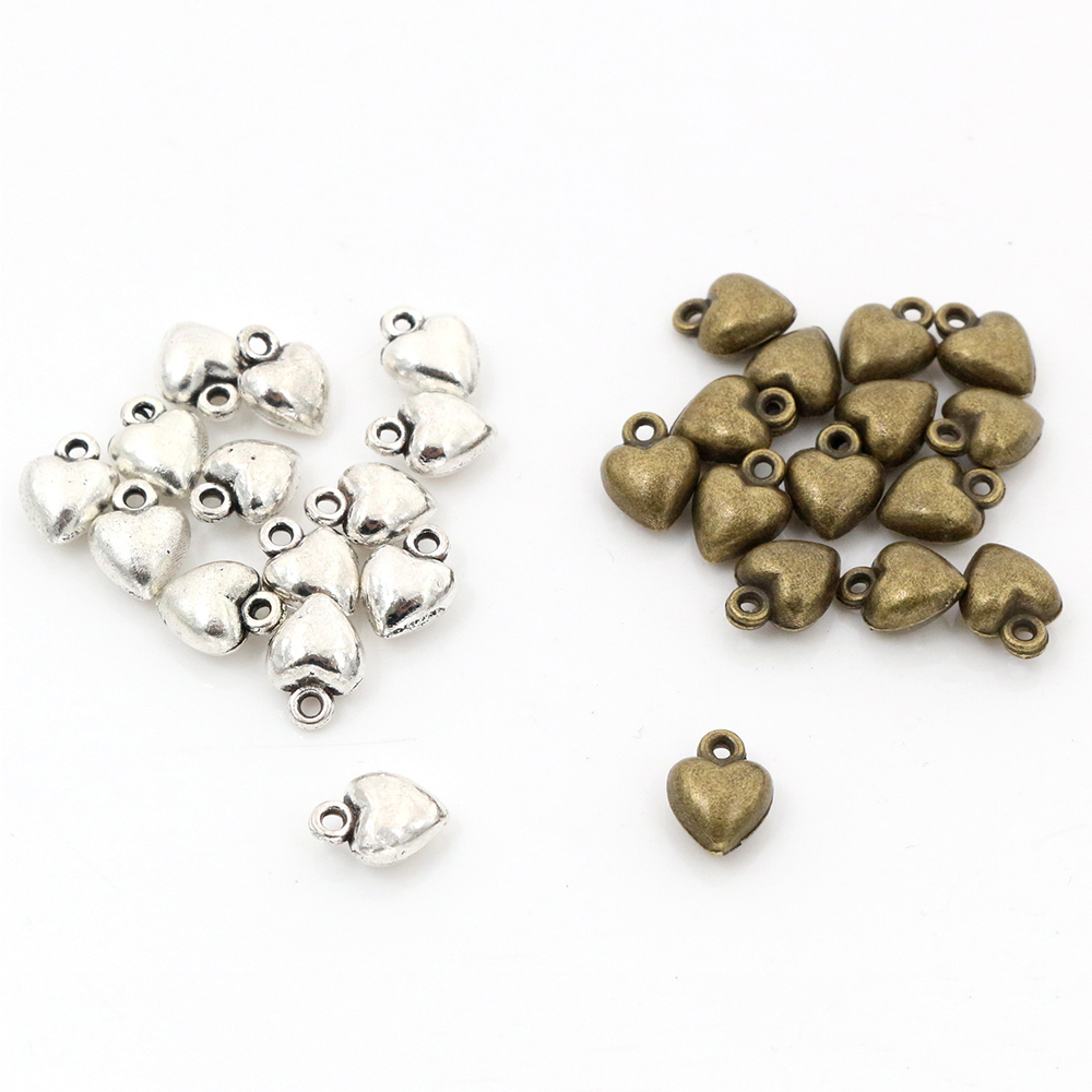 9x7mm 30pcs Antique Silver Plated Bronze Plated Heart Handmade Charms Pendant:DIY For Bracelet Necklace-
