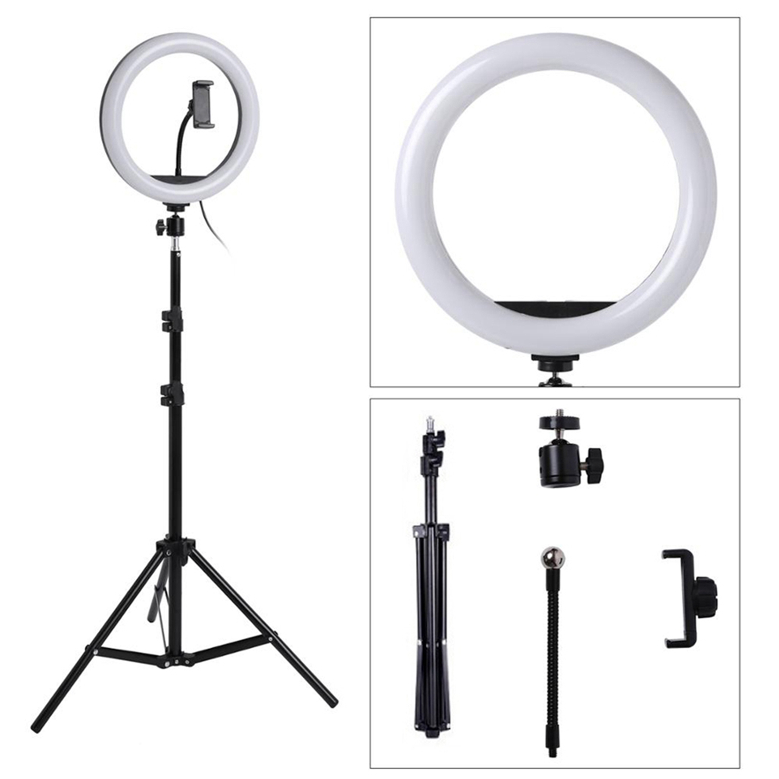 LED Ring Light Lamp Tripod Round Selfie Ring Light with Tripod for Mobile Phone Living Equipment Photography Lamp Hoop Ringlight