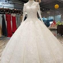 LS01450 이슬람 플러스 사이즈 웨딩 드레스 2020 높은 목 긴 소매 공 가운 긴 베일 vestido madrinha 드 casamento longo