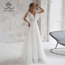 Modne aplikacje suknia ślubna z tiulu Swanskirt NR08 dekolt w serek cekiny linia sąd pociąg suknia ślubna księżniczka Vestido De Noiva