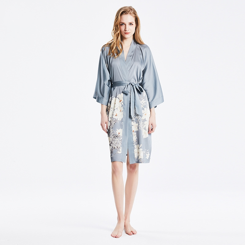 Silk Robes Hot Grey Print Kimono Bathrobe Women's Simplicity Pajamas Robes Sleepwear One Size