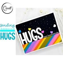 QWELL Word Sending Monster Hugs Metal Cutting Dies Stencil for DIY Scrapbooking Craft Paper Card Making Embossing  New 2020
