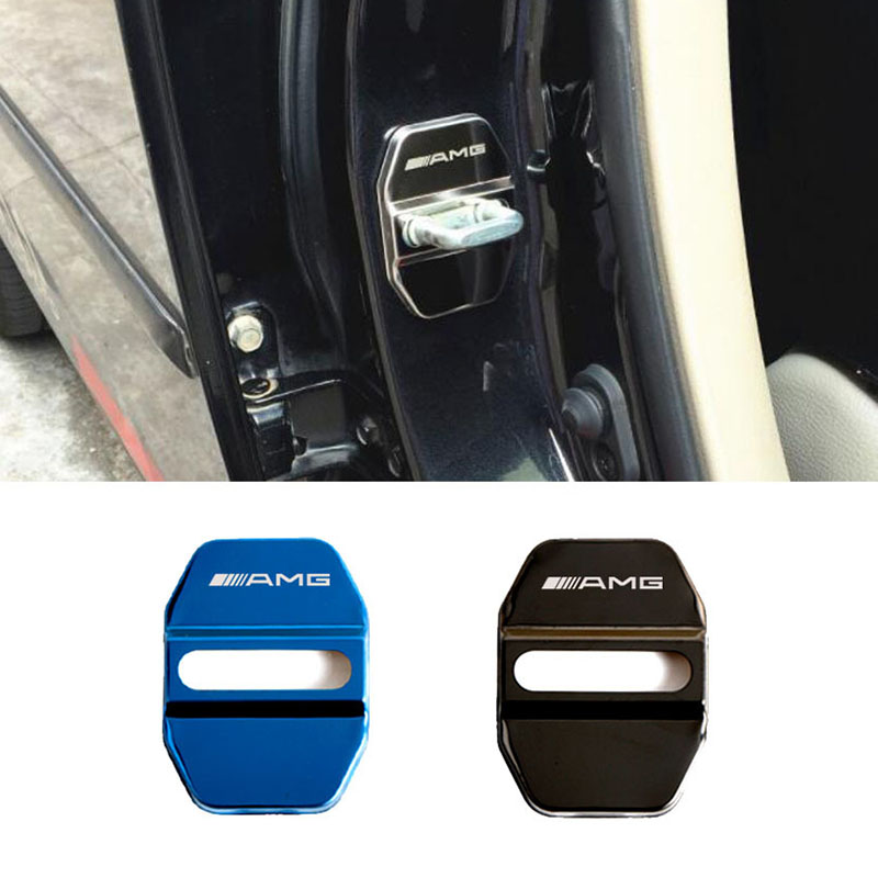 4pc Door Lock Decoration Protection Cover Emblem case For Mercedes-AMG With Logo Stainless Steel Door Lock Cap Car styling