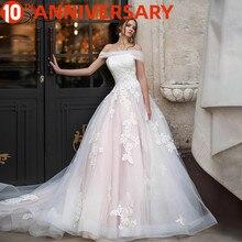 BAZIIINGAAA luksusowa suknia ślubna Off the shoulder aplikacja z koronki suknia ślubna Sexy Backless American Bride wsparcie szyte na miarę