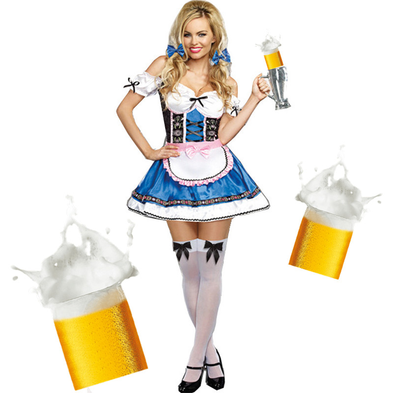 Women Munich Beer Oktoberfest Costume Masquerade Carnival Party Fancy Dress Maid Uniforms Sexy waiter Play Beer Party Dress New