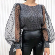 Womens See-through Top Sheer Mesh Slim Fit T-Shirt Lace Organza Ruffled Sleeve