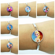 The Crystal Cabochon Princess Elsa Anna Snow Queen Glass Pendant Charm Silver Bracelet for Girls the snow queen