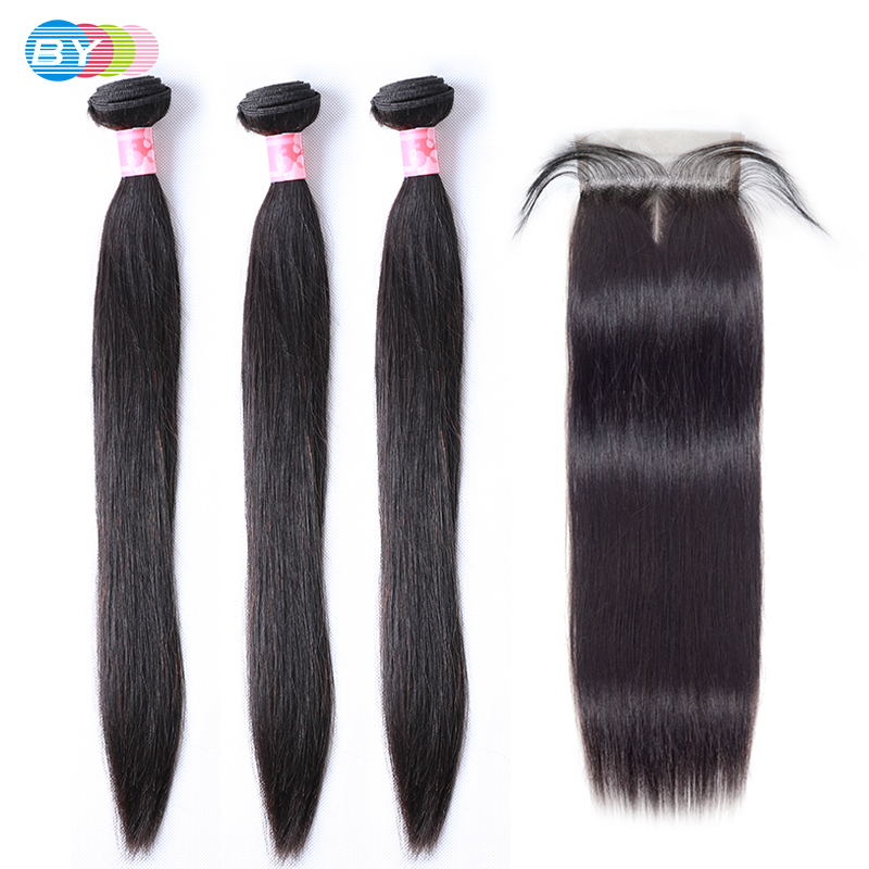Peruvian Hair Bundles With Closure Straight Hair kim k Closure Wiht Baby Hair Hd Swiss Lace 3 Bundles With Closure BY Remy Hair-in 3/4 Bundles with Closure from Hair Extensions & Wigs    1
