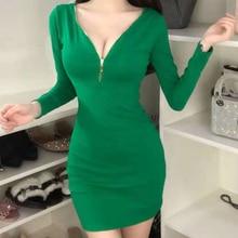 Fashion Green Black Long sleeve Solid Elegant slim V-Neck Autumn 2019 Spring Type A Sexy Zipper Cotton Dress 883B