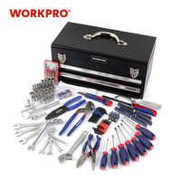 Caja de herramientas de Metal SAE WORKPRO 229PC Set de herramientas para el hogar Juego de Herramientas para el hogar zócalos de destornilladores llaves inglesas