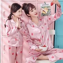 Пижамный комплект с мультяшным принтом для мамы и ребенка осень