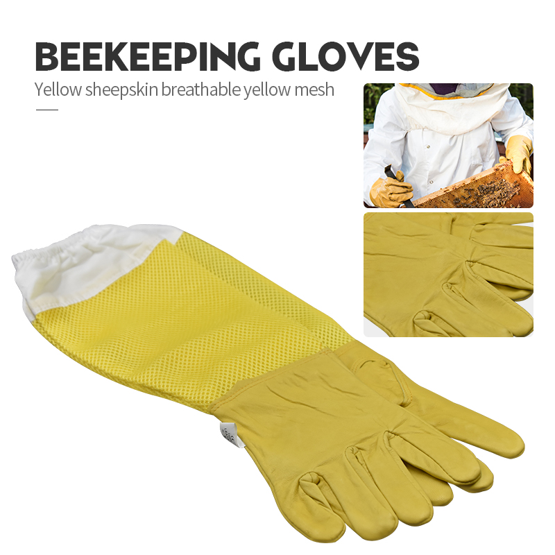 Beekeeping-Gloves Apiculture Breathable Yellow Mesh White And Sheepskin Cloth for Protective-Sleeves