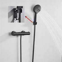 Thermostatic Shower-Set Bathroom-Accessories Wall-Mounted Spray-Head Black/chrome-Brass