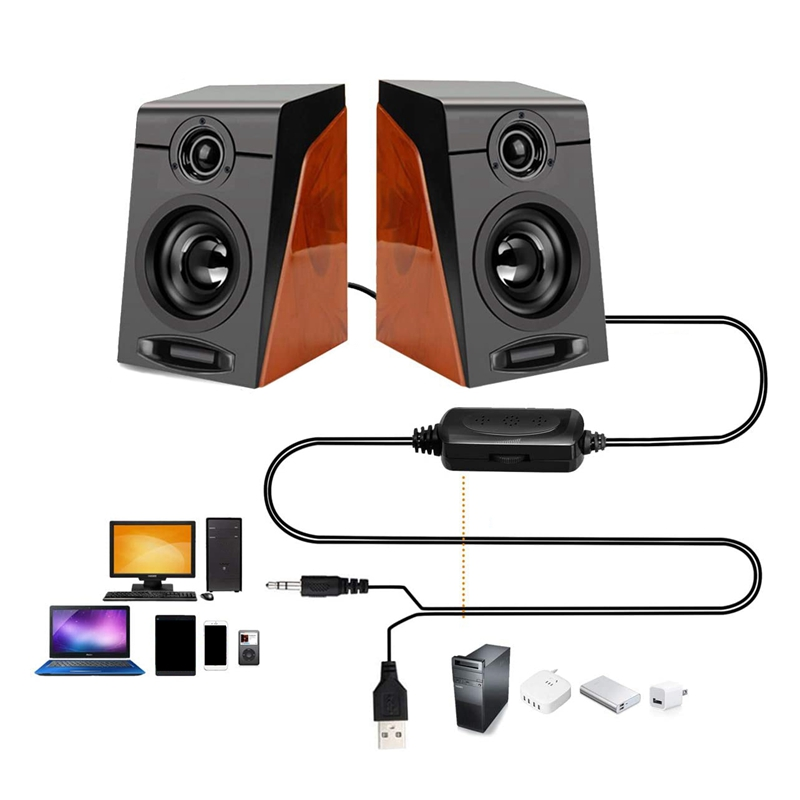 Hot Deals3Wx2 Computer Speakers with Surround Stereo USB Wired Powered Multimedia Speaker for PC/Laptops/Smart Phone
