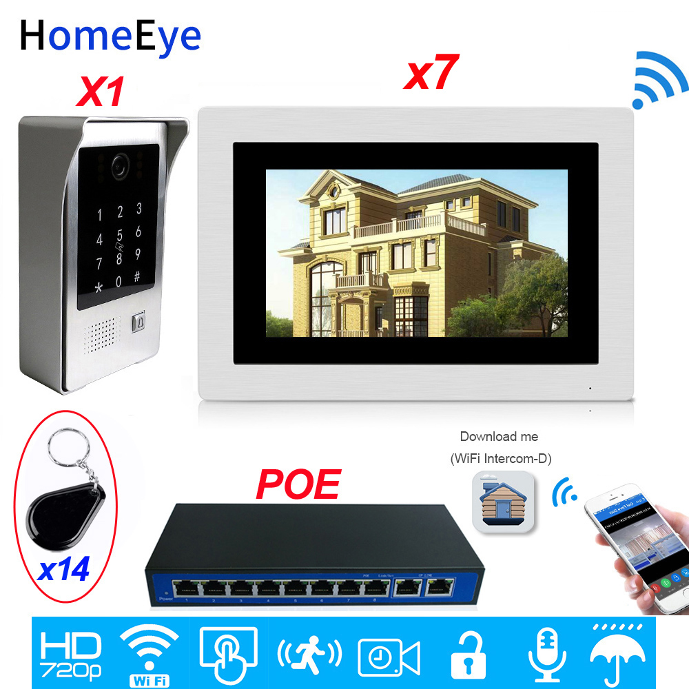 WiFi Video Door Phone IP Video Intercom App Remote Unlock Multi-language OSD Code Keypad+IC Card Security Access Control System