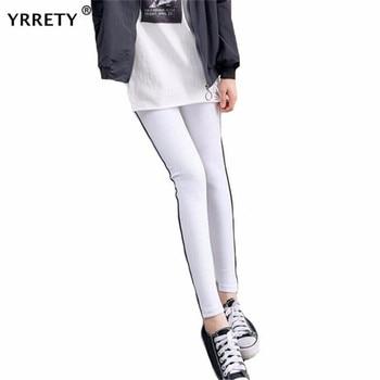 YRRETY kobiety moda dzianiny legginsy nadruk w paski elastyczność Splice czarne długie legginsy Fitness Athleisure kobiety trening leginsy