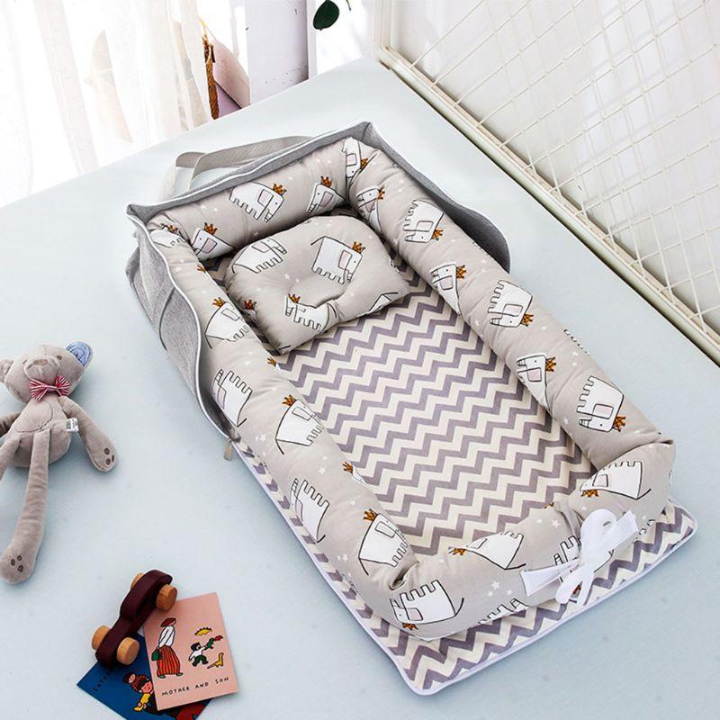 Portable Newborn Baby Sleep Nest Bed Crib Infant Soft Cotton Breathable Lounger 203E