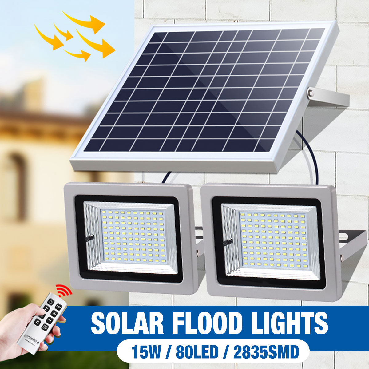 2X Remote Control 100LED FloodLight  Dimable Timer Waterproof Solar Light Street