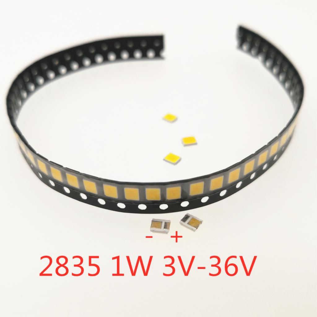100 Uds SMD LED 2835 Chips 1W 3V 6V 9V 18V 30V cuentas blanco claro 0,5 W 1W 130LM montaje en superficie PCB lámpara de diodo emisor de luz