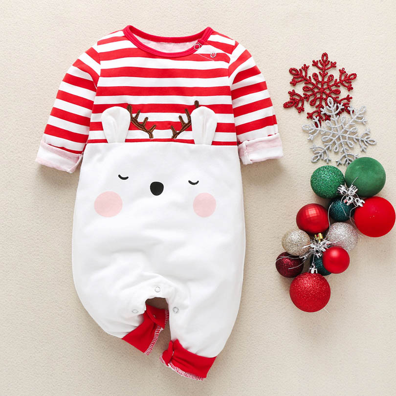 Baby Boys Christmas Rompers Reindeer Infantil Jumpsuits Toddler Girls New Year's Costume Children Spring Autumn Clothes