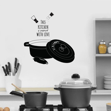 Home Minimalist Kitchen Waterproof Applique Wallpaper Art Sticker Simple This Seasoned with Love Pattern WL107