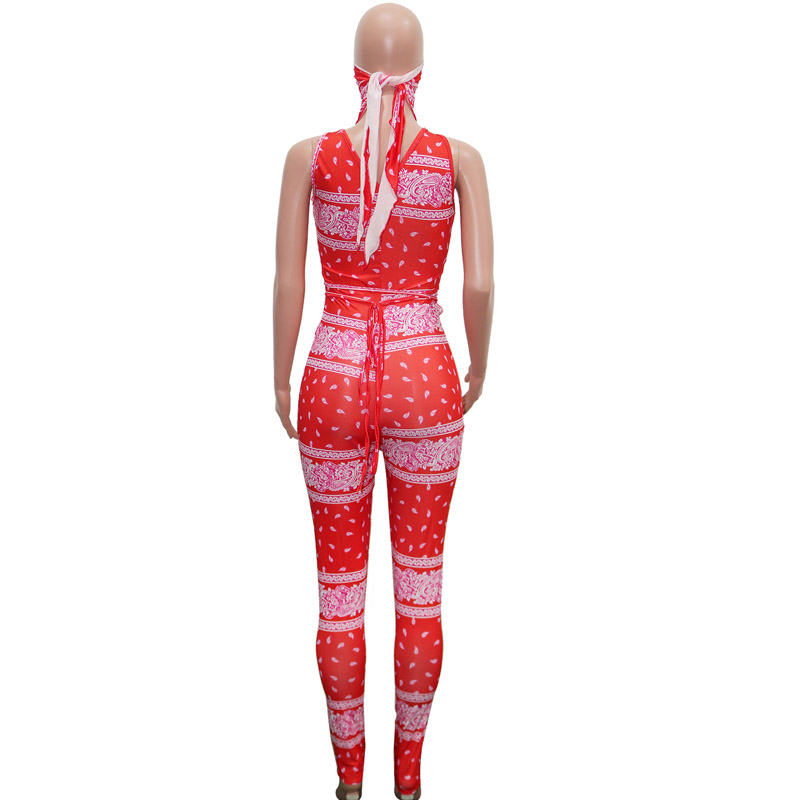 Beyprern Vintage Hollow Out Printed Laced Jumpsuit With Scarf Women Sexy Cut Out Bandage Long Pants Jumpsuit Romper Club Outfits