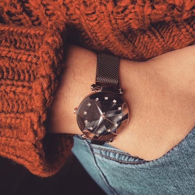 Reloj con cielo estrellado magnético para mujer, de cuarzo con diamantes, femenino 2