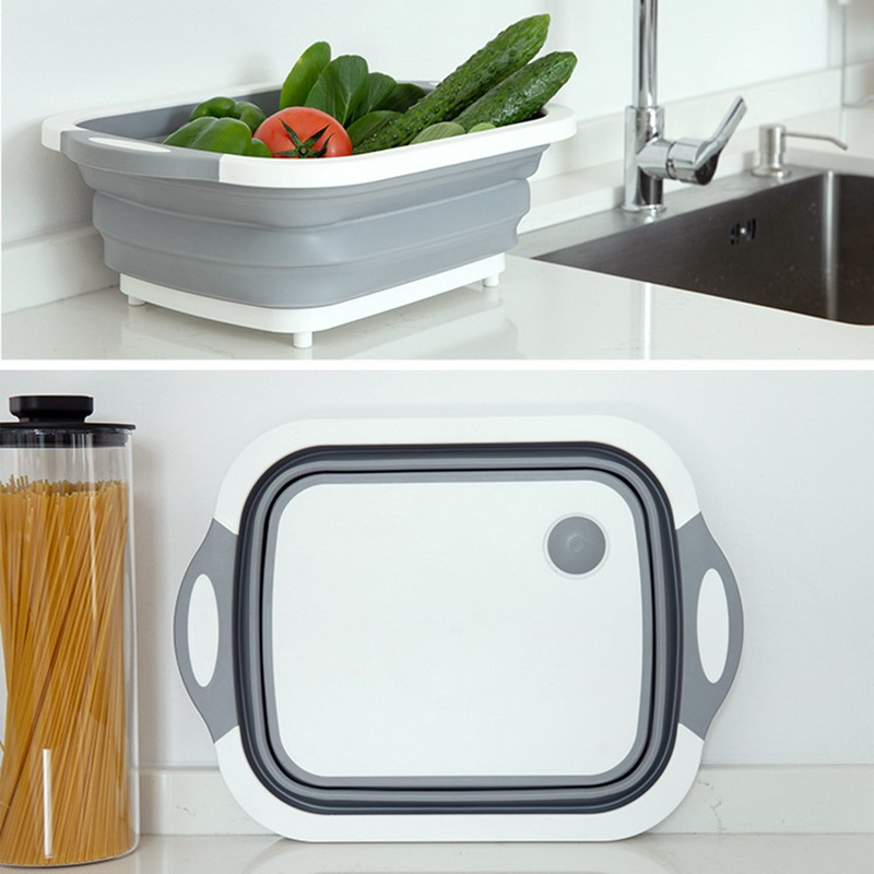 Collapsible Cutting Board Dish Tub Kitchen Vegetable Washing Basket Drain Basket 3-in-1 Design