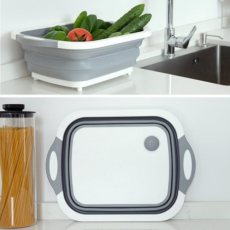 Collapsible Cutting Board Dish Tub Kitchen Vegetable Washing Basket Drain Basket 3-in-1 Design
