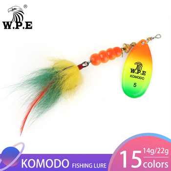 W.P.E Spinner Lure 1pcs 4#/5# 14g/22g Spoon Fishing Metal Tackle Feather Bait Artificial Multicolor Hard