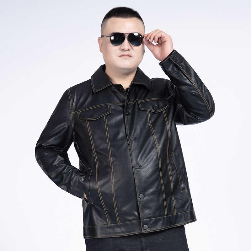 10XL 8XL 6XL メンズジャケット秋冬ターンダウン襟ジッパーフェイクレザーオートバイのジャケットショートコート防風暖かいジャケット