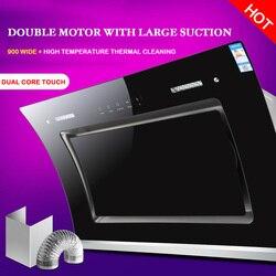 Okap podwójny silnik czyszczenie ciepła większy okap ssący okap boczny Okapy kuchenne AGD -