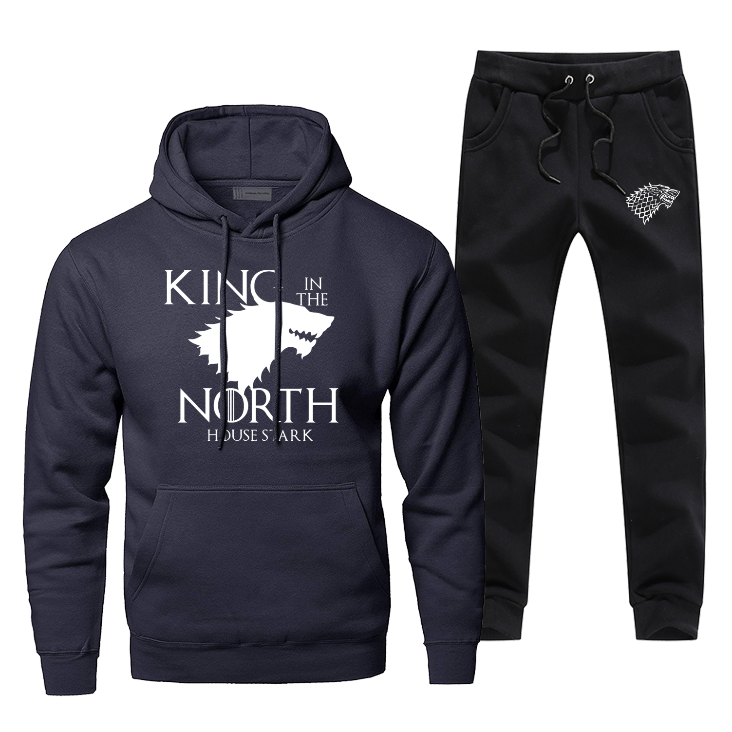 Game Of Thrones Mens Hoodies Sets Two Piece Pant Hoodie King In The North House Starks  Streetwear Sportswear Wolf Sweatshirts