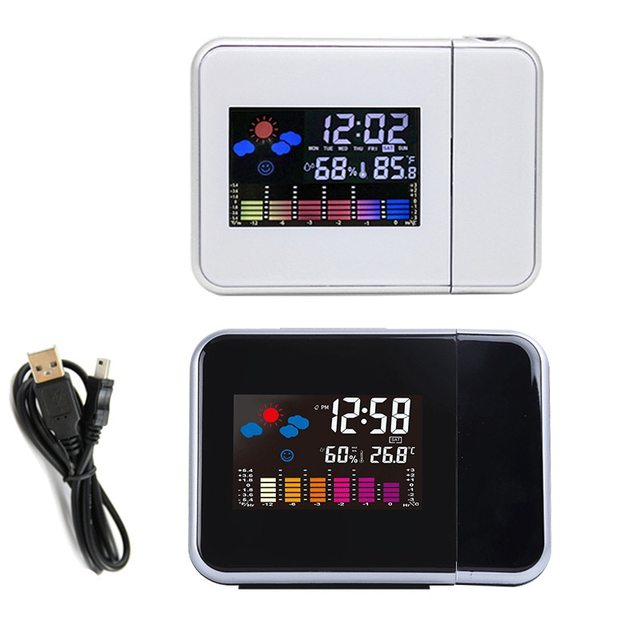 LED Digital Projection Alarm Clock Temperature Thermometer Desk Time Date Display Projector Calendar USB Charger Table Led Clock 3