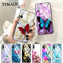 YIMAOC butterfly on roses flower Glass Case for Xiaomi Redmi 4X 6A note 5 6 7 Pro Mi 8 9 Lite A1 A2 F1