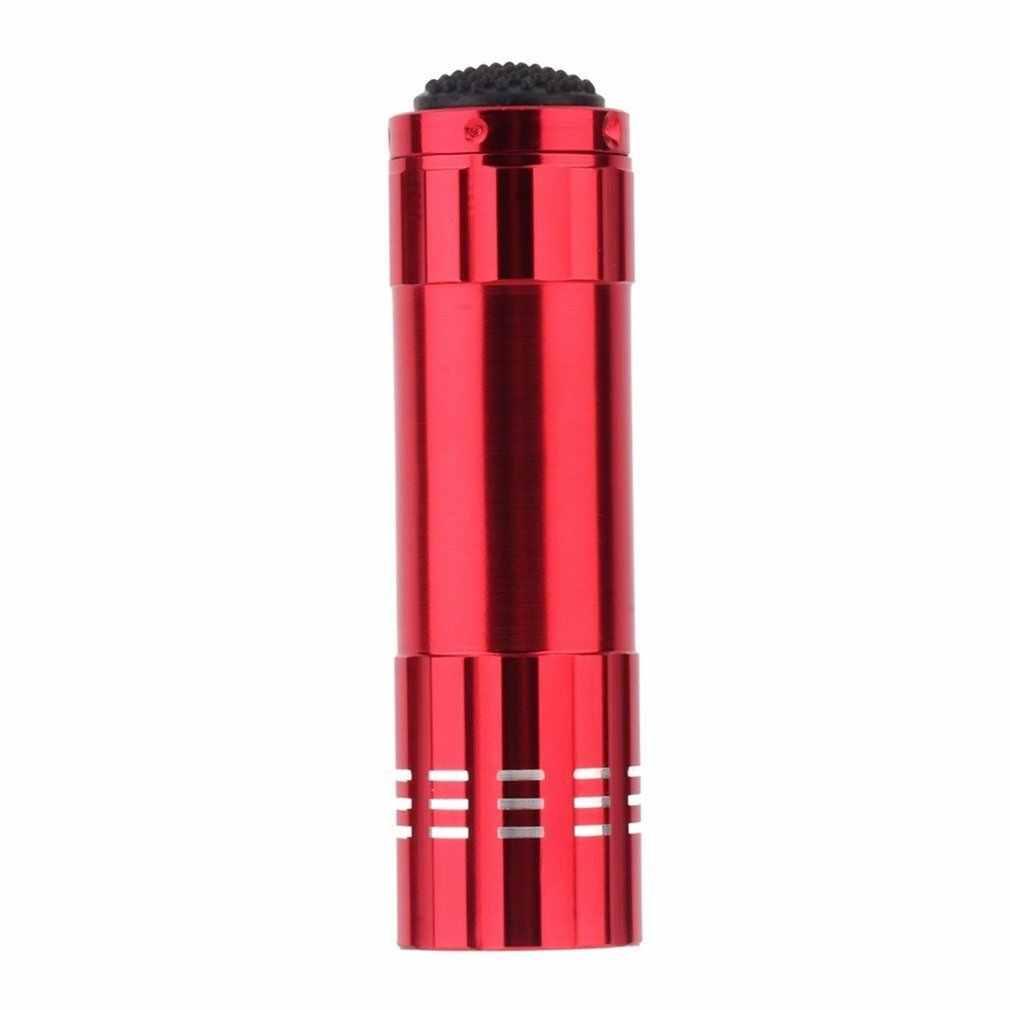 Ultravioleta 9 led lanterna preto roxo luz da tocha lâmpada preto aaa mini protable alumínio uv ano novo produto original