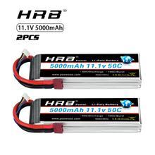 2 Pcs Hrb 11.1V 5000 Mah Lipo Batterij 3S 50C Met T Deans Plug Voor 1/12 1/10 Rc auto Truck Monster Rc Boot Fpv Drone Frame
