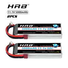 2pcs HRB 11.1V 5000mah Lipo Battery 3S 50C with T Deans plug for 1/12 1/10 RC car truck Monster RC Boat FPV Drone frame