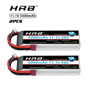 Image 1 - 2pcs HRB 11.1V 5000mah Lipo Battery 3S 50C with T Deans plug for 1/12 1/10 RC car truck Monster RC Boat FPV Drone frame