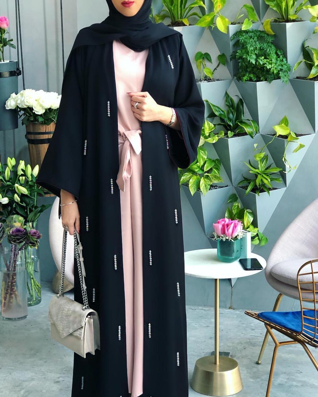 Opened abayas hand made diamond beading muslim dress Muslim abaya peignoir fashion islamic abaya prayer service clothing F1842