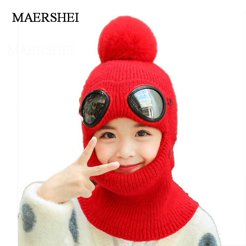 Winter Knitted Hat For Girls Warm Beanies Skullies Ski Cap With Removable Glasses For Kids Outdoor Sports Cap