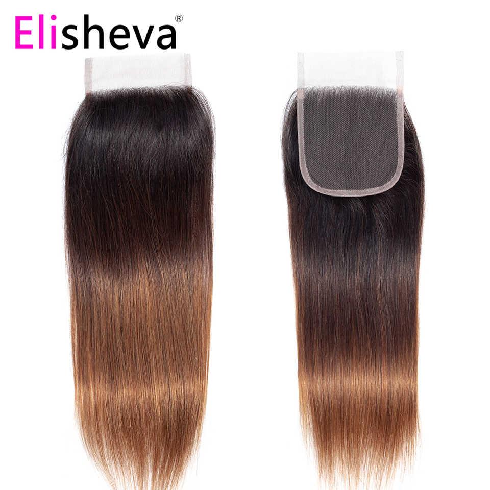 Elisheva ombre pacotes com fechamento tingido t1b/4/30 três tom peruano cabelo reto remy colorido feixes de cabelo humano com fechamento