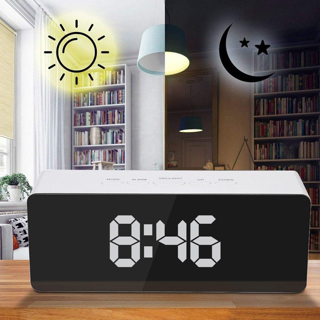 US Backlight LED Lights Digital Clock Thermometer Snooze Alarm Clock Decor