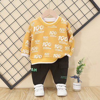New Spring Autumn Baby Boys Girls Clothes Children Printed T Shirt Pants 2Pcs/set Toddler Fashion Clothing Infant Kids Tracksuit jxysy toddler kid baby girls clothing set ruffles floral top pleated pants spring autumn girls clothes children costumes