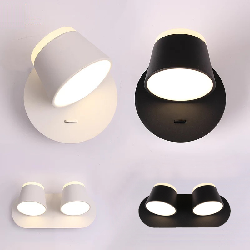 Modern Led Indoor Room Wall Lamps 3 Heads Dimmable Brightness Bedside Reading Light Fixture Luminaire Metal Rotate Lighting Deco