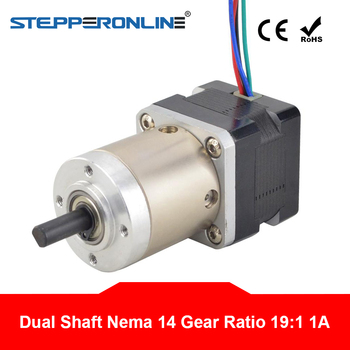 Dual Shaft Nema 14 Stepper Motor with 14:1 Planetary Gearbox L=28mm 1A 4-lead Extruder Gear Motor image