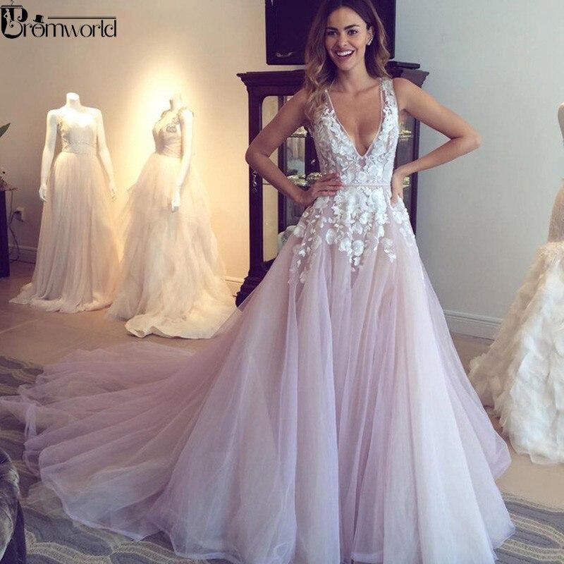 Lilas Tulle col en V Appliques fleurs une ligne robe de mariée Sexy dos nu robes de mariée 2019 robe de mariée Vestidos de Noivas